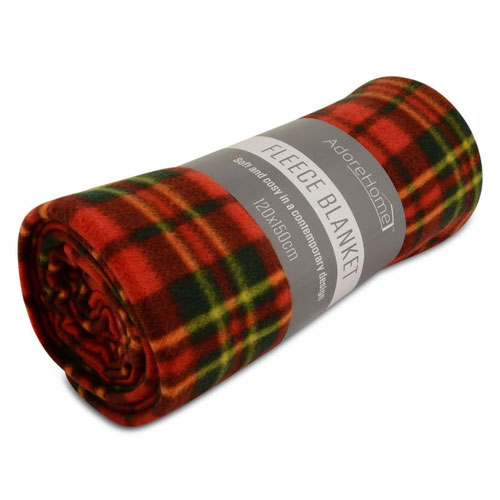 Fleece Blanket Chequered Red Small