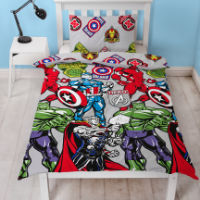 Official Marvel Avengers Stickers Reversible Duvet Set