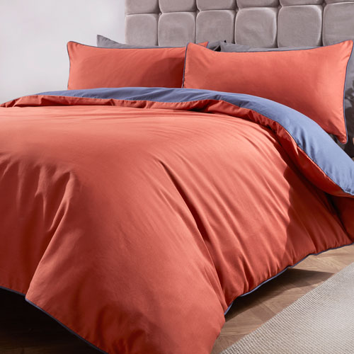 Essential Reversible Duvet Set Rust