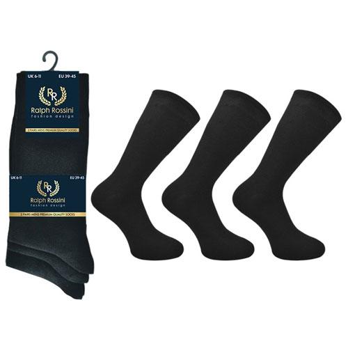 Mens 3 Pack Ralph Rossini Plain Socks