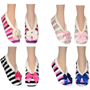 Cozees Ladies Sherpa Stripe Slippers