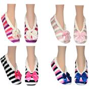Cozees Ladies Sherpa Stripe Slippers