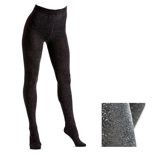 200 Denier Fashion Lurex Fleece Tights Grey