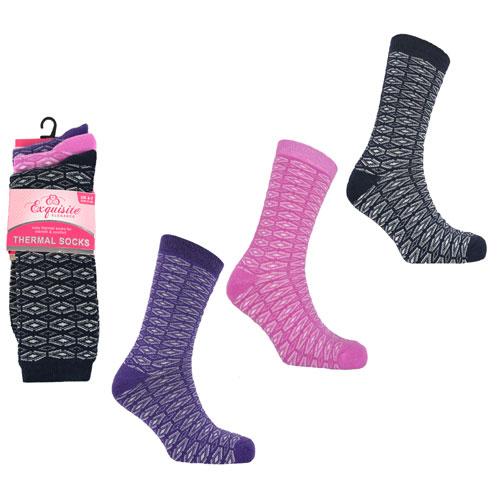 Ladies 3 Pack Exquisite Thermal Socks Diamond
