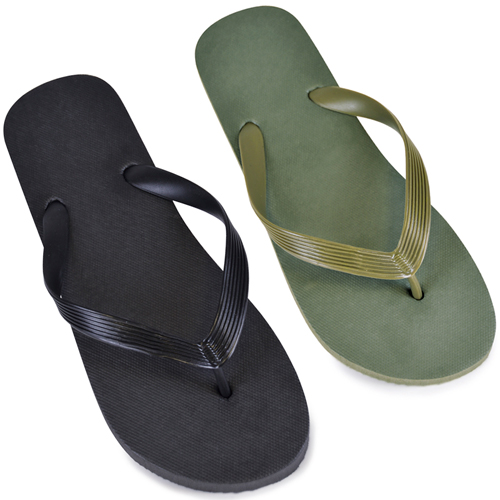 Mens Solid Plain Black/Khaki Flip Flops