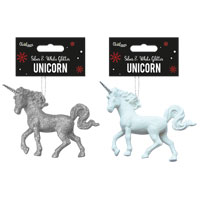 Silver And White Glitter Unicorn Decoration