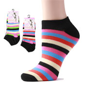 Ladies Trainer Socks With Stripes