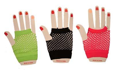 Fishnet Gloves Short Neon Colours & Black
