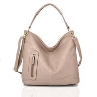 Nattie Side Zip Slouch Bag Beige