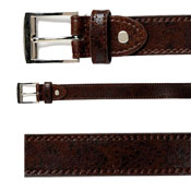 58% Leather Twin Stitched Belt Brown/Black