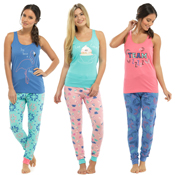 Ladies Vest Top with Printed Pants PJ set