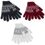 Ladies Fairisle Gloves With Glitter
