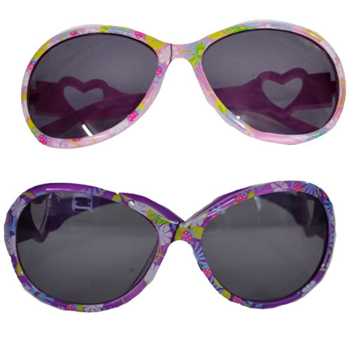 Girls Flower Print Design Sunglasses With Heart Arms