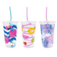 Tropical Design Reusable Cup And Straw