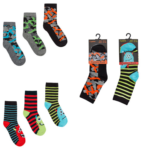 Boys Monster Design Cotton Rich Socks