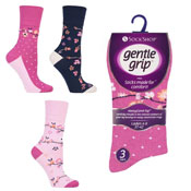 Ladies Gentle Grip Flora Fauna Socks