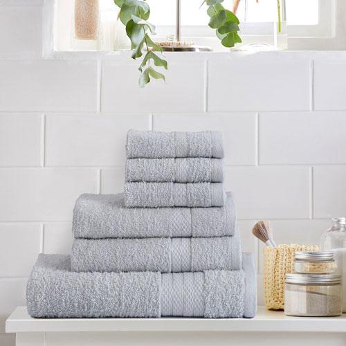 6 Piece Luxury Towel Bale Set Silver