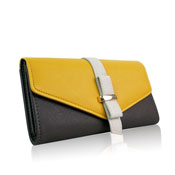 Ladies Colour Block Long Purse Grey/Yellow