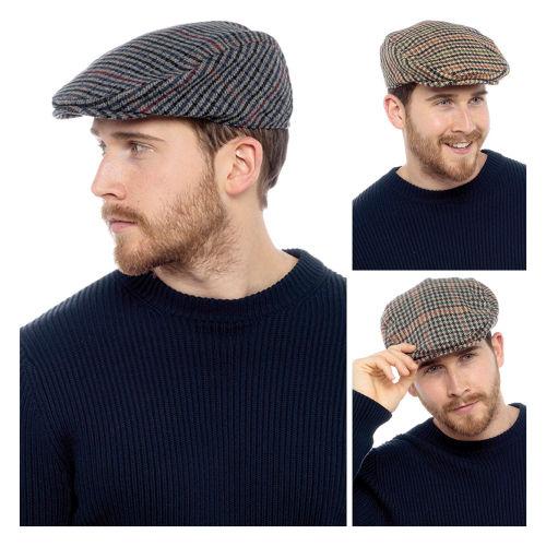 Mens Tweed Herringbone Flat Cap Assorted