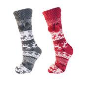 Ladies Fairisle Fleece Lined Slipper Socks