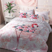 Flamingo Floral Reversible Duvet Set