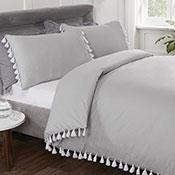 Tassel Luxury Duvet Set Grey
