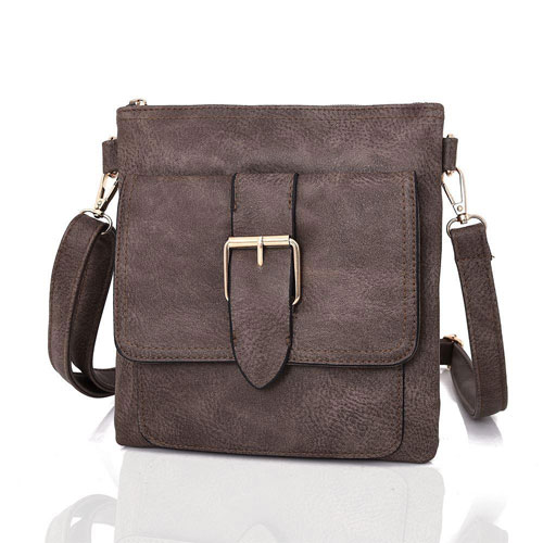 Zane Square Buckle Crossbody Bag Khaki