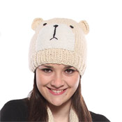 Ladies Knitted Hat Bear Print