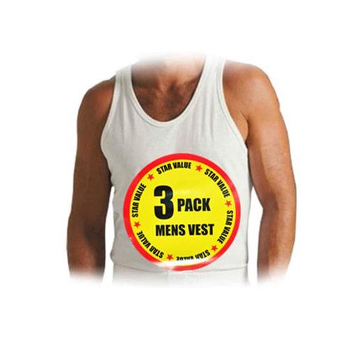 Mens Cotton Vests 3 Pack White