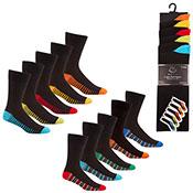 Pierre Roche Mens Cotton Rich Socks Stripe Heel/Toe
