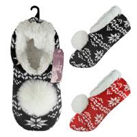 Ladies Knitted Fairisle Slipper Socks