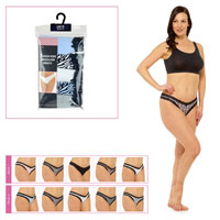 Ladies 5 Pack High Leg Brazilian Briefs