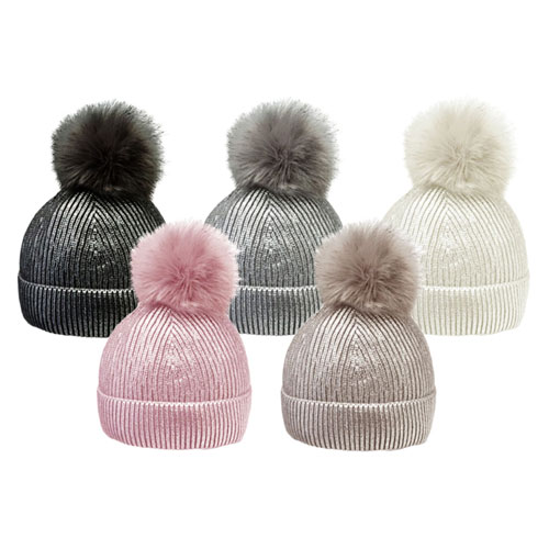 Ladies Metallic Print Bobble Hat With Faux Fur Pom Pom
