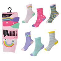 Girls 3 Pack Rainbow Design Socks
