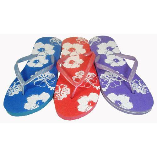 Girls Exotic Flower Print Flip Flops