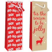Christmas Jolly Design Luxury Bottle Bag 2 Pack