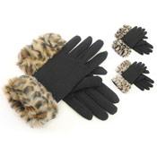 RJM Ladies Gloves With Fake Fur Cuff