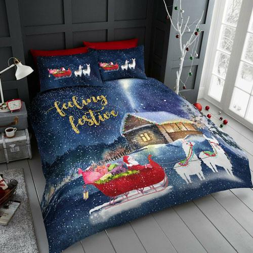 Llama Sleigh Christmas Duvet Set