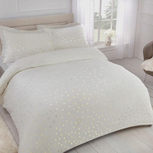 Comfy Fleece Foil Dots Duvet Set Ivory