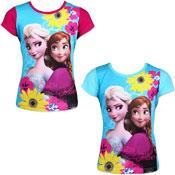 Girls Disney Frozen Short Sleeve Printed T-Shirt