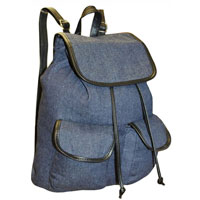 Contrast Edge Denim Look Rucksack Dark Blue Black