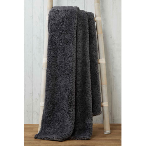 Soft and Cosy Teddy Blanket Throw Charcoal 200x240