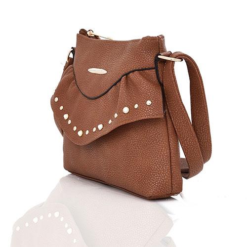 Sansa Studded Crossbody Bag Red Brown