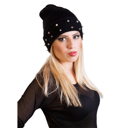 Slouch Beanie Hat with Studs