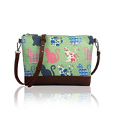 Ladies Kitty Cat Mini Crossbody Bag Green