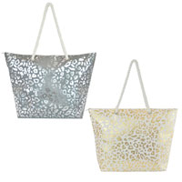 False Canvas Bag Leopard Foil Print
