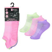 Girls 3 Pack Trainer Socks With Gripper