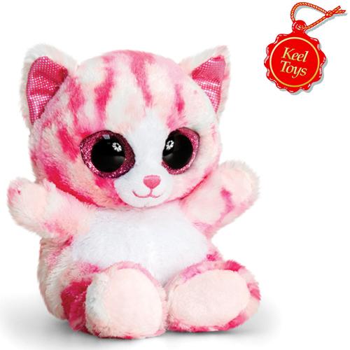 Animotsu Pink Cat Cuddly Soft Toy