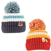 Boys Tractor & Fire Engine Logo Knitted Bobble Hat