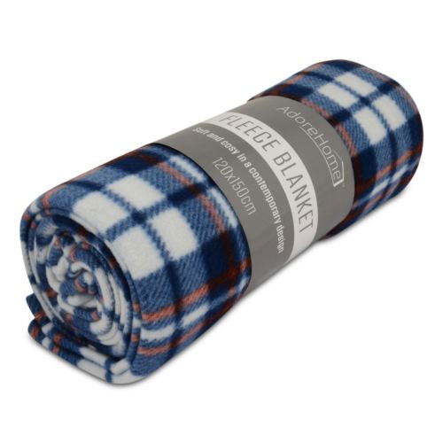 Fleece Blanket Chequered Blue Small